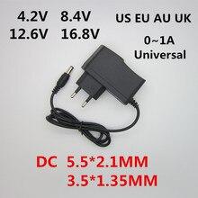 Adaptador 100 240 4.2 8.4v 1000ma da fonte de alimentação do carregador da c.a. 12.6-16.8 v dc 4.2v 8.4v 12.6v 16.8 v 1a para a bateria do li-íon do lítio 18650