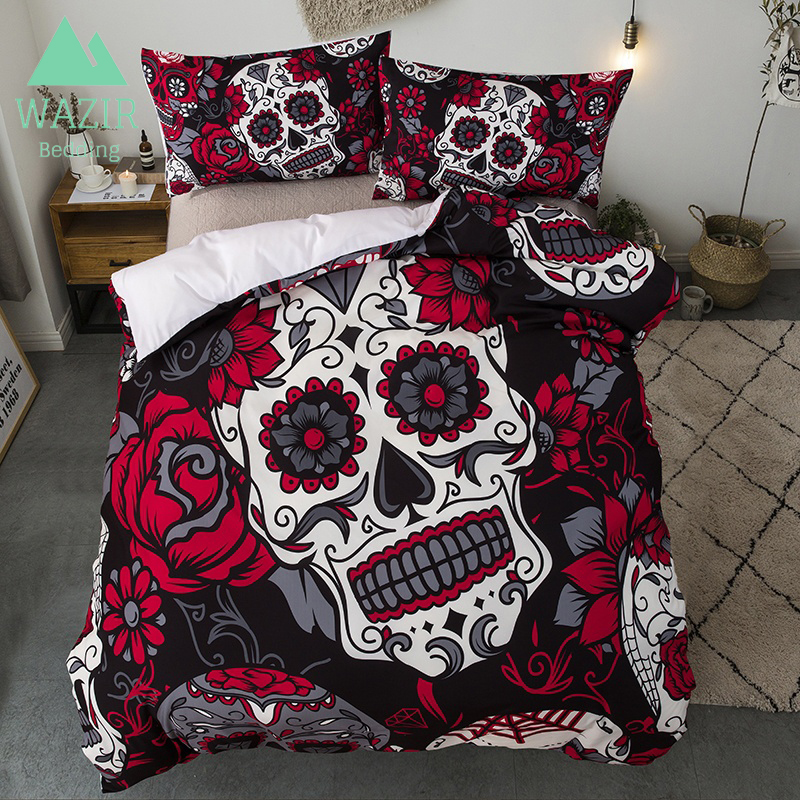 WAZIR Skull Printing Bedding Set Bedroom 2/3pcs Home Textiles Quilt Cover Pillowcase Black Red Wedding decorationWAZIR Skull Printing Bedding Set Bedroom 2/3pcs Home Textiles Quilt Cover Pillowcase Black Red Wedding decoration