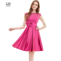 LZJ High Quality Summer New Woman S Clothes Vestidos Fashion O Neck Sleeveless Bowknot Solid Color