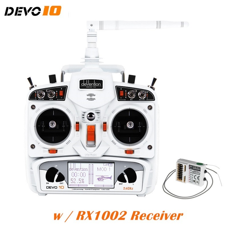 Walkera DEVO 10 Transmitter + RX1002 Receiver 10 Channel Remote Controller White 20km Radio System