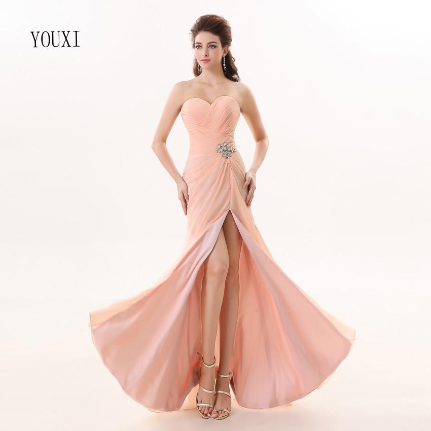 Vestidos de dama de honor 2019 YOUXI BD012 vestidos de Chifón con relleno suave rosa - 6