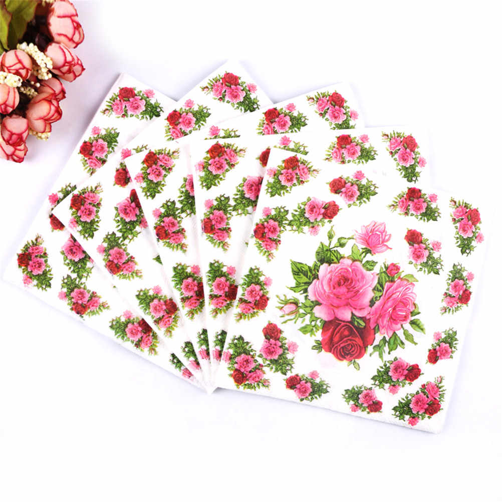 20pcs servilletas decoupage vintage green pink Table napkins paper tissue printed flower rose wedding birthday party decoration