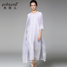 POKWAI Casual Long Silk Trench Women Fashion High Quality 2017 New V-Neck Windbreak Wide-Waisted Wind Coat Solid Open Stitch