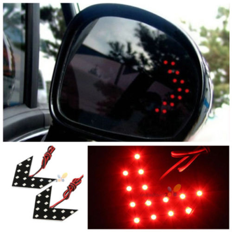 Universal Car 2Pcs Red 14 SMD LED Sequential Arrow Panel Rear View Side Mirror Turn Light For Mercedes Benz VW Golf