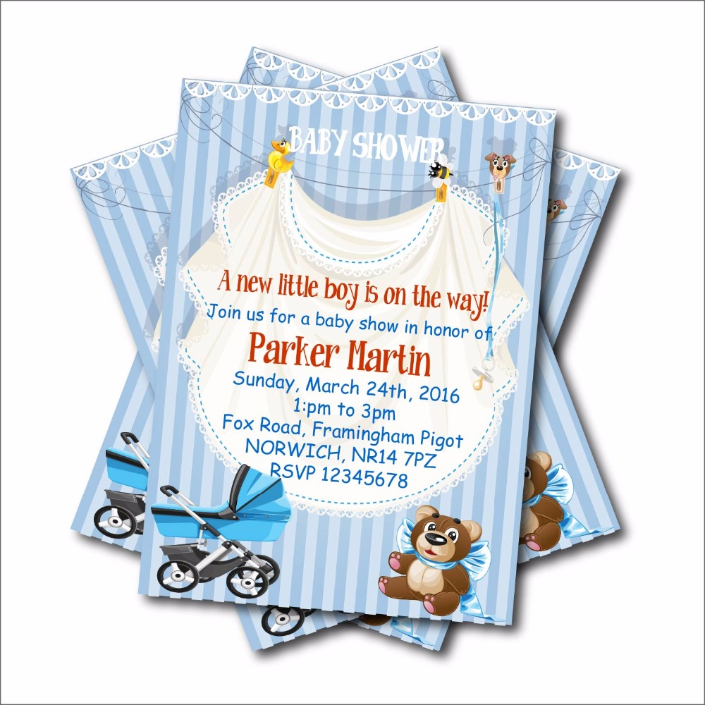 20 pcs/lot Custom Bear little man Baby Shower Invitations Birthday ...