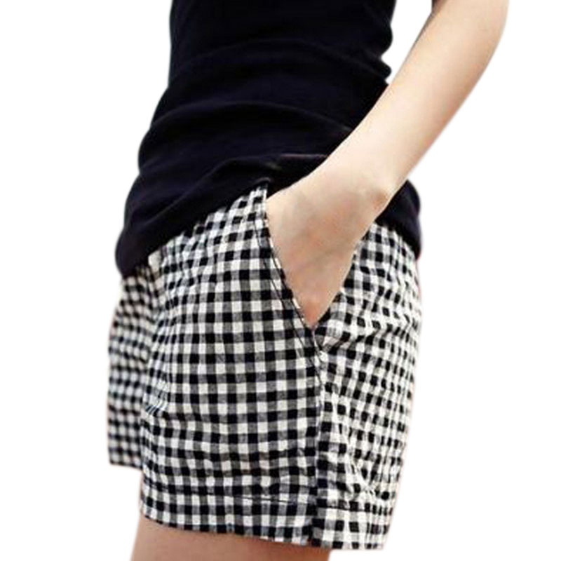Newly Fashion Women Plaid   Shorts   Casual Loose Elastic Waist All-Match Summer Cotton   Short   Pants Plus Size 4XL