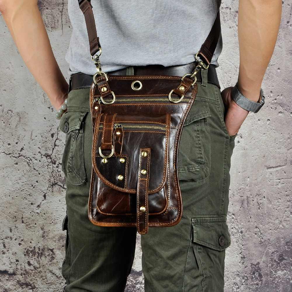 """Bán Ngựa Điên Thật Thiết Kế Da Nam Vintage Nhỏ Dây Túi Mini Bộ Hoạt Thả Chân Túi 8 """"Miếng Lót Túi 2141"""