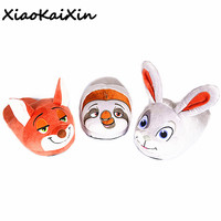XiaoKaiXin Unisex 3D Animals Home Shoes Lovely Cartoon Movie Zootopia Judy Nick Flash Winter Warm Soft