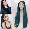 Hair Replacement Lace Front Wig Long Straight Synthetic Dark Blue Ombre Wigs Black Roots Heat Resistant Fiber Hair 2 Tones