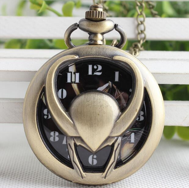 Movies Extension Loki Design Vintage Bronze Pocket Watch With Necklace Chain Best Gift For Men Women 20pcs