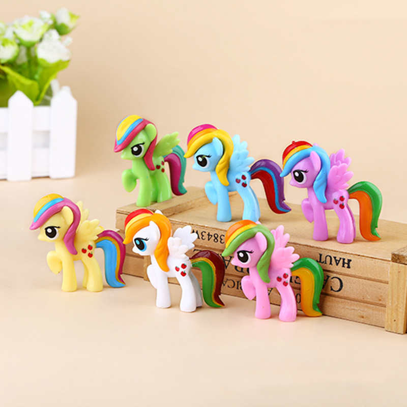 Unicorn Horse Pony Vinyl Dolls Sets Cartoon Anime Action Figures Super Cute Toys for Children Kids Home Car Decor Toy Gift Set 48pcs lot action figures toy stikeez sucker kids silicon toys minifigures capsule children gift