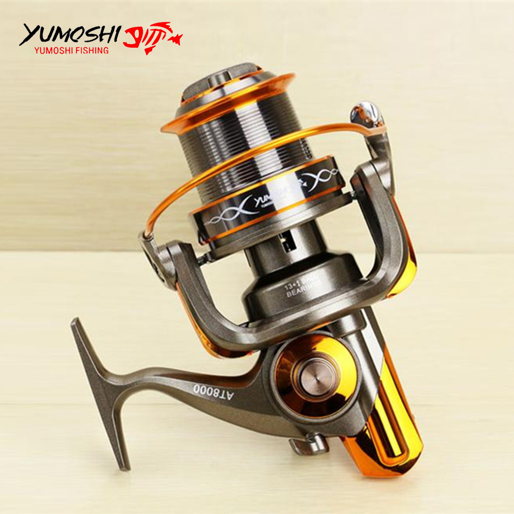 Big Fishing Reel Long Shot Sea SaltWater Carp Fishing Spinning Reel 8000 9000 4.6:1 13+1BB Full Metal Wire Cup carretilha pesca