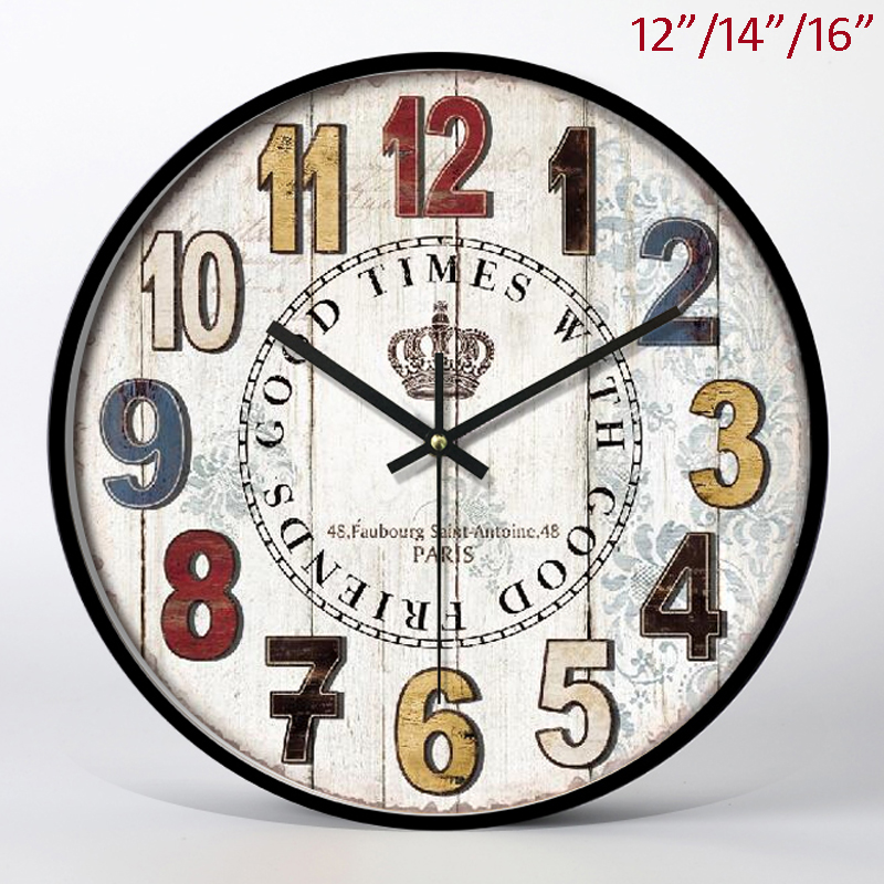 Classique bon moment avec de bons amis avec des chiffres arabes bois clair avec du fer noir encadré 14 pouces cercle MDF horloge murale