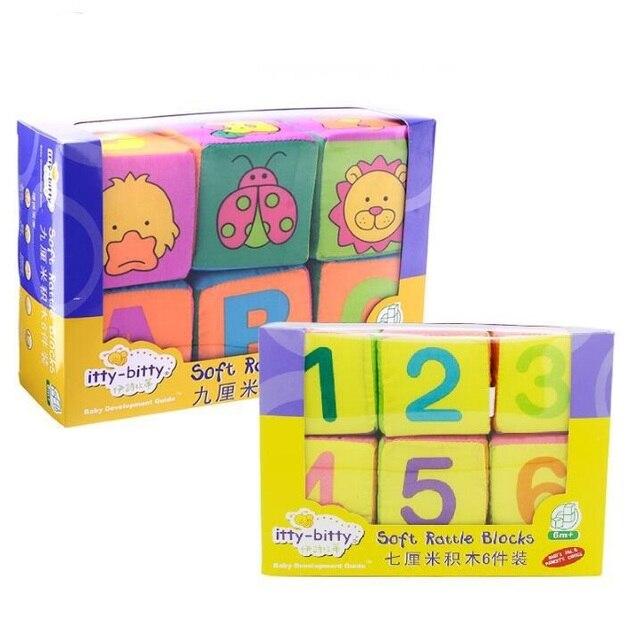 6 pcs/ensemble Bébé Jouets Blocs Mous Ensemble Cube Blocs de ...