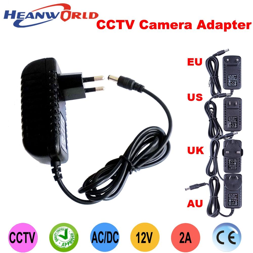 Heanworld good quality AC100-240V to DC12V2A Converter Power supply adapter EU/US/UK/AU for CCTV camera IP camera and DVR anran eu 2pin us 2pin au 2pin uk 3pin dc12v 2a output 2 1mm ac100 240v power supply switch adapter for cctv camera
