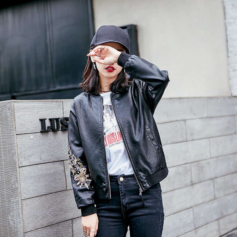 2019 Manteau Pu Biker Broderie Bomber Black Vestes En brown Mode Rivet Court Cuir Femmes Pour Veste Slim Printemps armygreen Faux 6p05g1qww