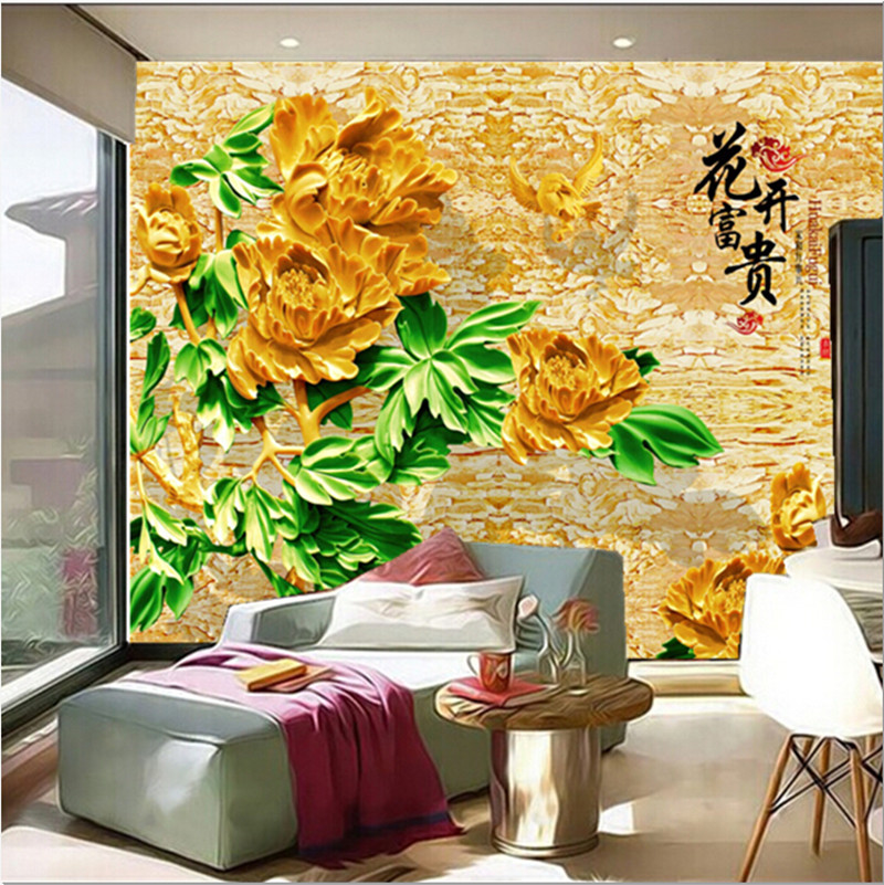 Custom papel de parede,3D stereo jade murals, Chinese style Golden Peony Flower,living room sofa TV wall bedroom wallpaper