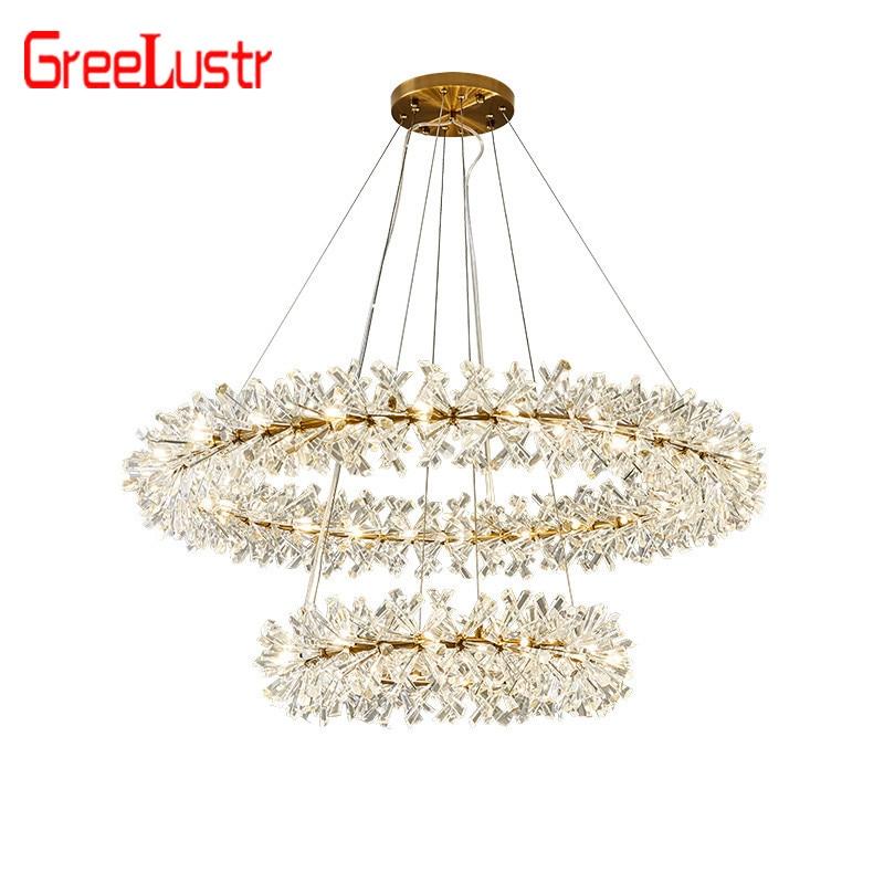 Us 193 23 59 Off Large Crystal Pendant Lighting Modern Led Lights For Hotel Dining Room Re Pendente Hanging Ceiling Lamp Deco Avize In