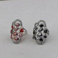 L&P New Genuine 925 Sterling Silver Gemstone Ring Elegant Anniversary Garnet Adjustable Ring Fine Jewelry For Women Gifts
