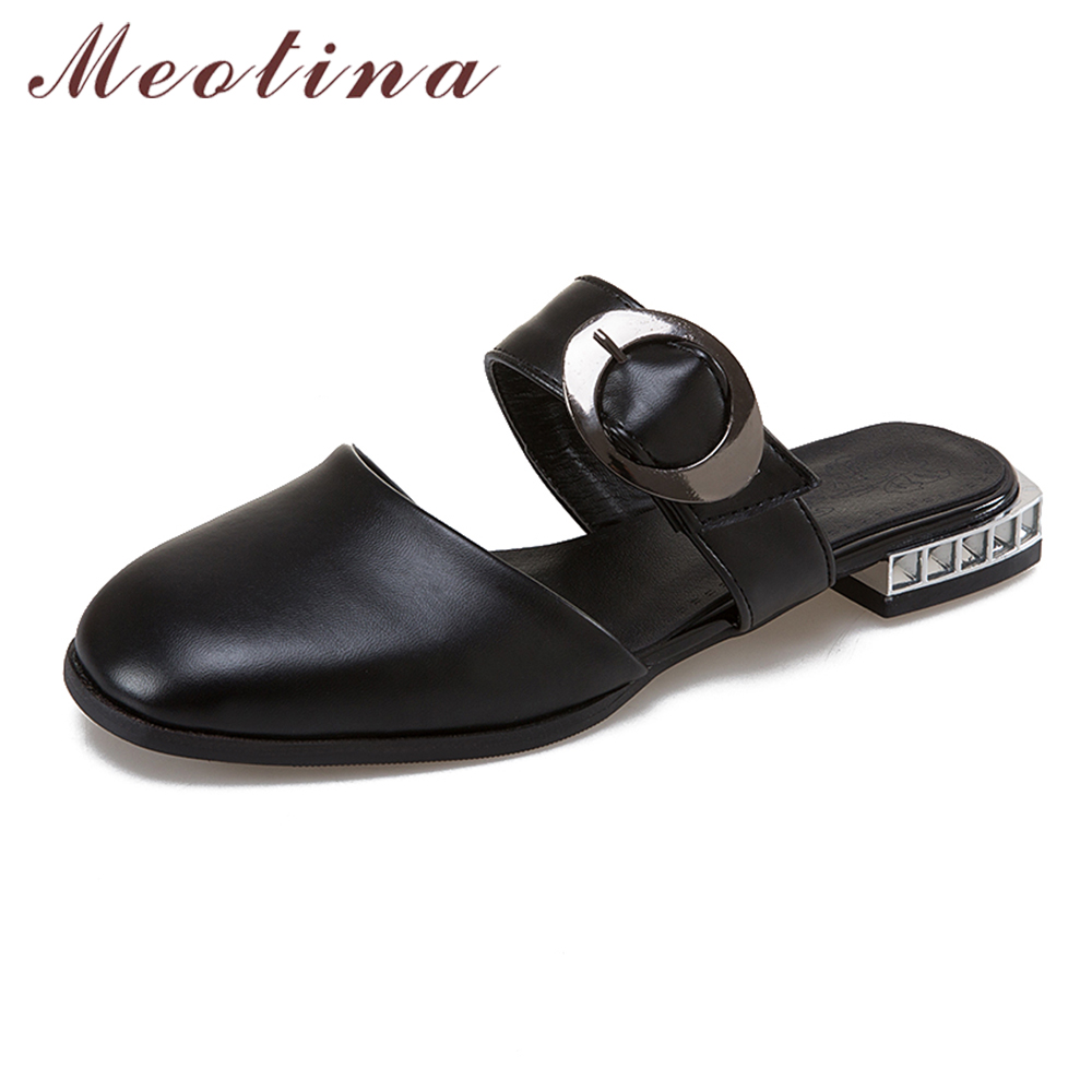Meotina Mules Shoes Summer Flat Sandals Buckle Women Shoes Fashion Casual Slippers Square Toe Rhinestone Slides Footwear Size 43 lucyever women vintage square toe flat summer sandals flock buckle casual shoes comfort ankle strap women footwear mujer zapatos
