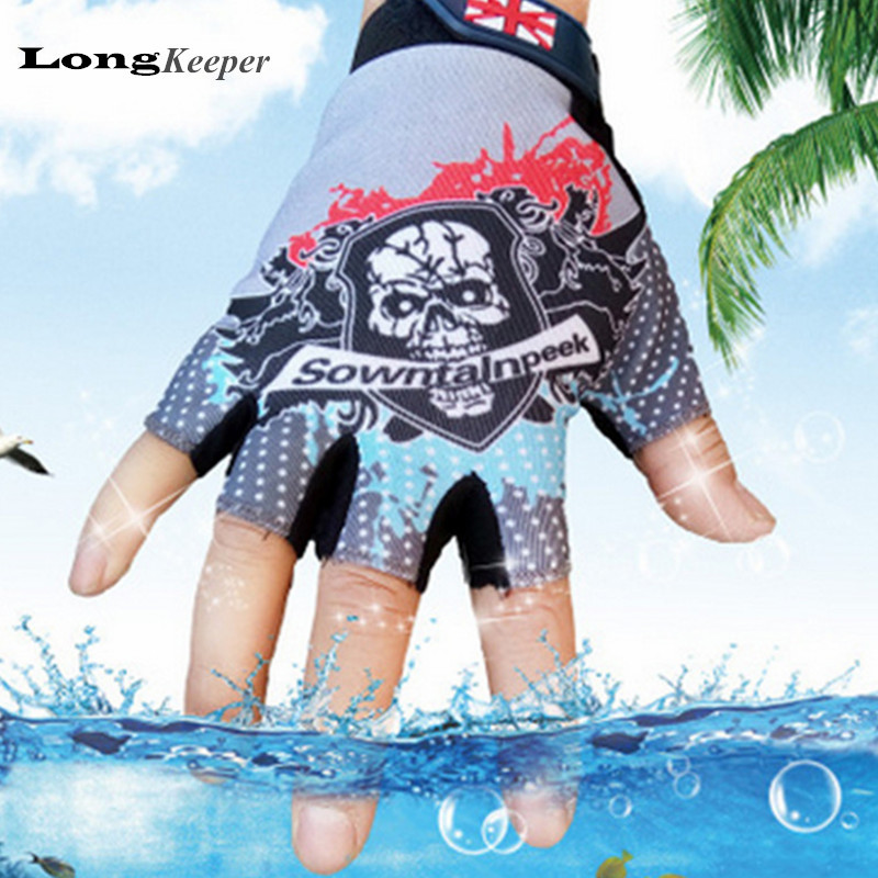 LongKeeper font b Novelty b font Sport Gloves Half finger Skull mittens fingerless Men Women UK