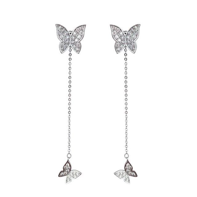 Anenjery 925 Sterling Silver Earrings For Women Dazzling Micro CZ Zircon Butterfly Tassel Earrings oorbellen S.jpg 640x640 - Anenjery 925 Sterling Silver Earrings For Women Dazzling Micro CZ Zircon Butterfly Tassel Earrings oorbellen S-E559
