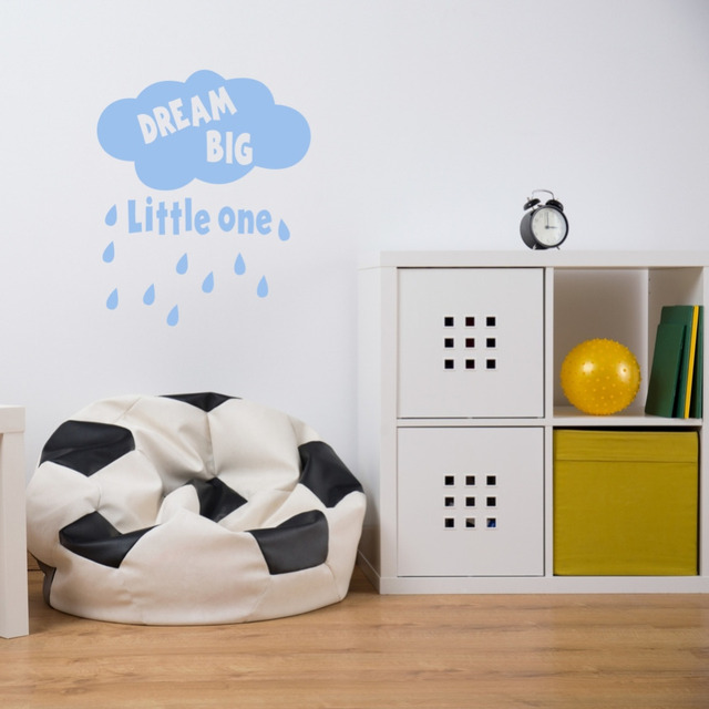 Creative quote dream big little one cloud and rain diy wall stickers vinyl decals for baby
