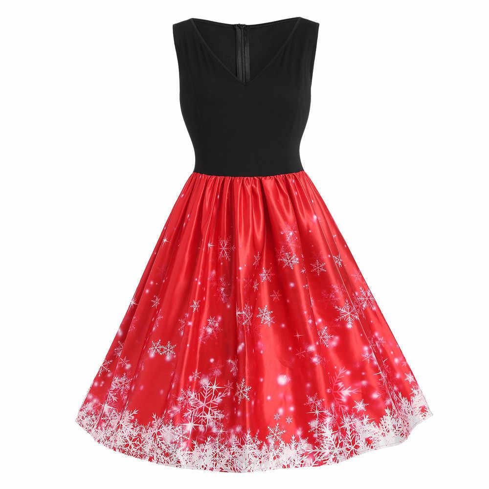 Vintage Party Dress Plus Size Women Snowflake Print V-Neck Sleeveless  Christmas Flare Dresses Ladies ebdda3a4911b