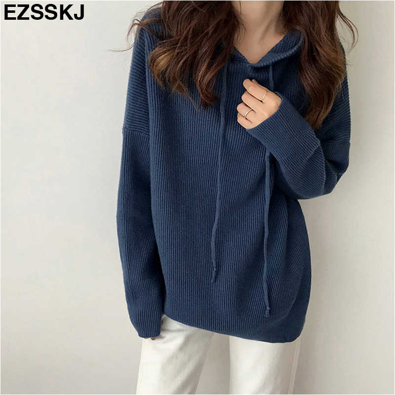 2018 Long Sleeve oversize Women Sweater Khaki thick Hooded sweater Pullover Winter Warm female Soft Long Knitted Sweaters jumper