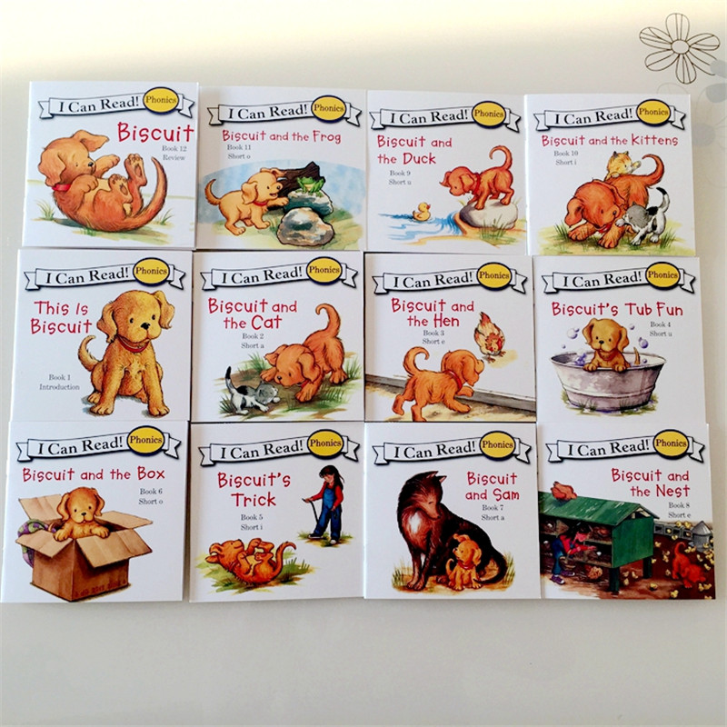 24 Books/set Biscuit Series Phonics English Picture Books I Can Read Children Story Book Early Educaction Pocket Reading Book