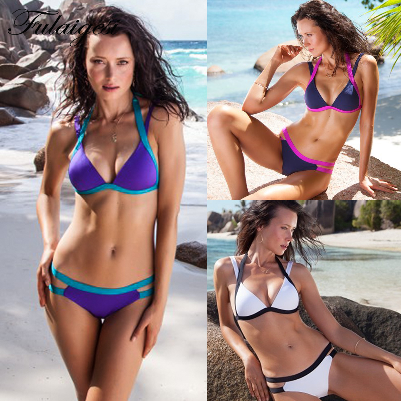Swimsuit women bikini color block ladies split swimwear Woman cross straps sexy swimsuit bikini set patchwork bathing suit women Купальник