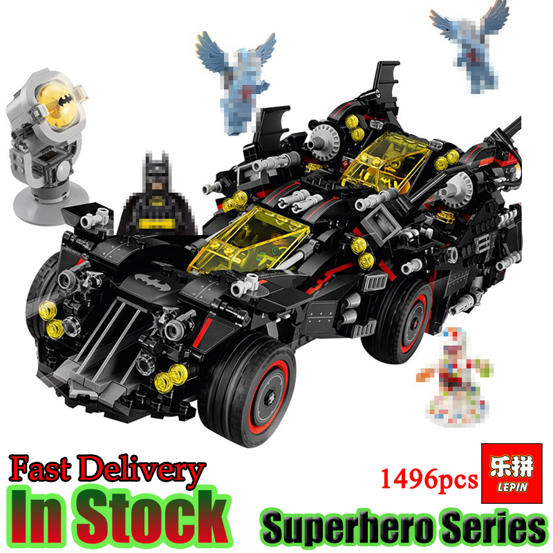 Lepin 07077 Batman Movie The Ultimate Batmobile Bat Motorcycle Fighter Building Blocks Bricks Toys Gift For Children 70917 batman movie the batwing lepin 07080 harley quinn robin aircraft building blocks 1068pcs bricks toys gift for children 70916
