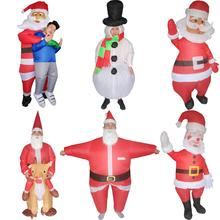 Adults Kids Snowman Santa Claus Costume Inflatable Fancy Dress Christmas Halloween Carnival Cosplay Outfit Birthday Party Suit
