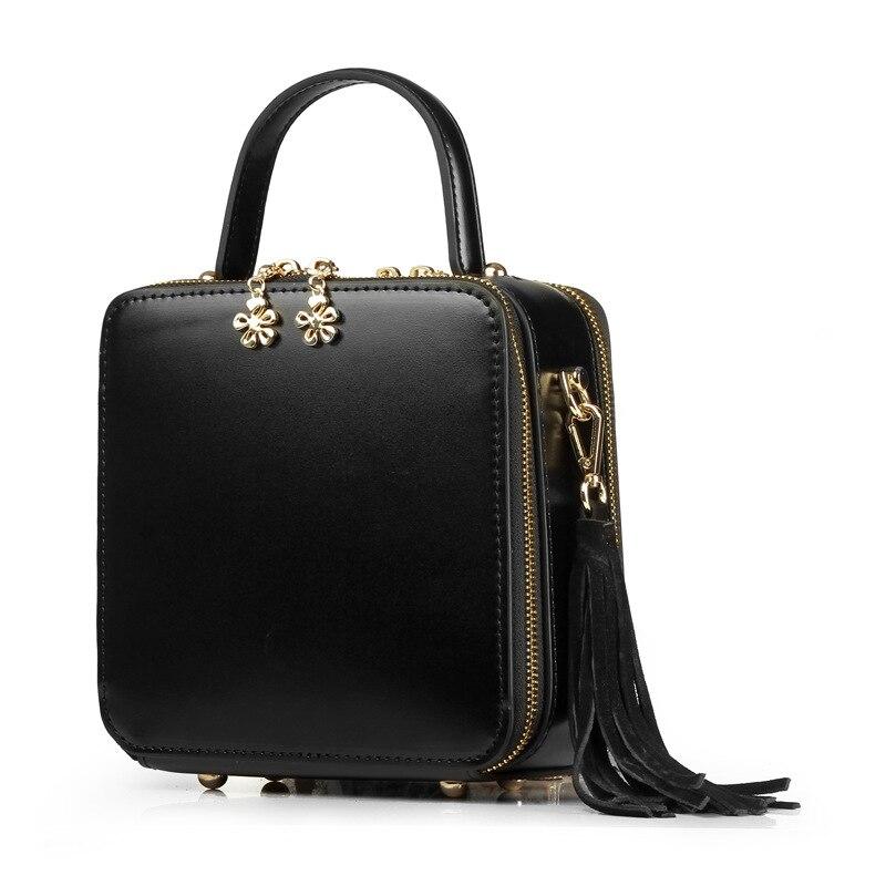 En Carré Mini Burgundy Sacs Littéraire Cuir Forme Simplicité De Rétro Main Petit Véritable À Femmes Peint Mode Sac Boîte Unique black Hw1x0nxBa