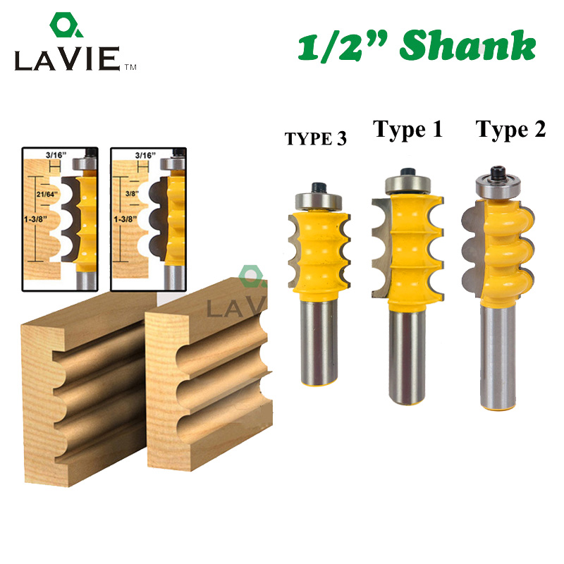 1pc 12mm 1/2 Shank Triple Flute Bead Column Molding Router Bit Line Knife Tenon Woodworking Milling Cutter Tools For Wood 03058