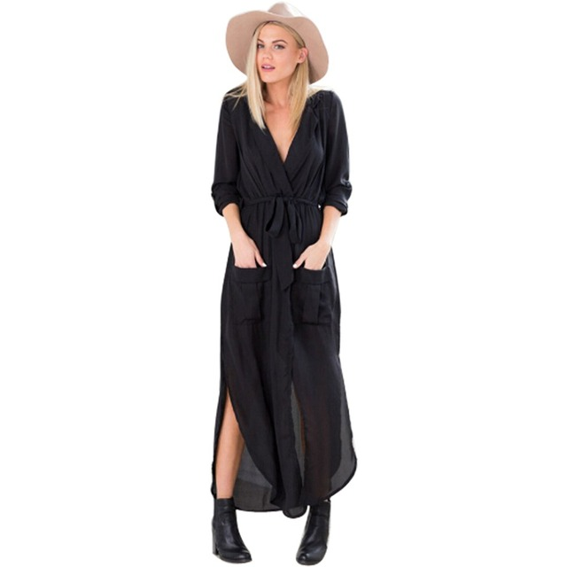 2016 Spring Autumn New Women  Split V Neck Long Sleeve Tunic Chiffon Trench Casual  Maxi Dress ZM0090