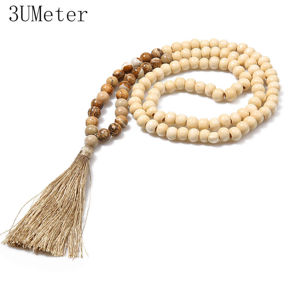 3UMeter Ethnic Wood Beads Necklace Natural Stone Long Necklace Bohemian Tassel Handmade Mala Necklace Gift For Girlfriend