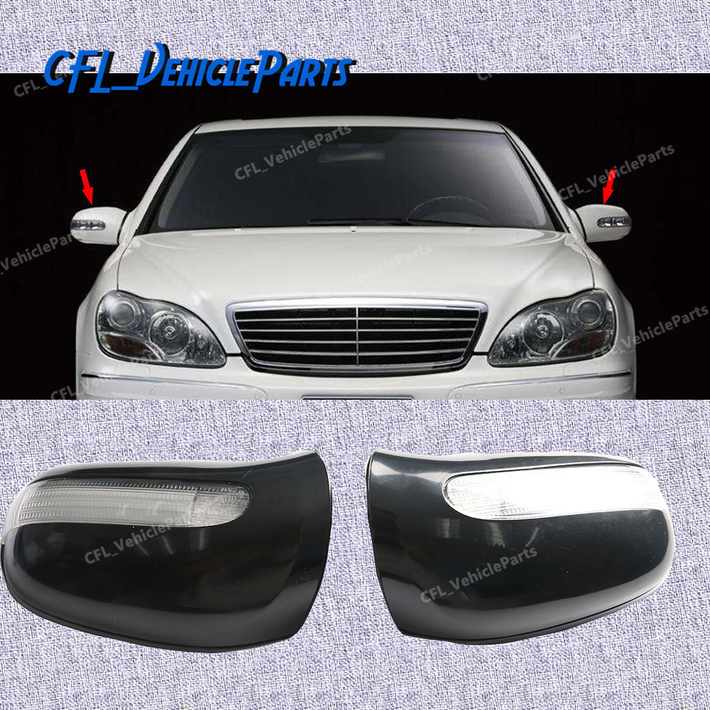 Pair Left+Right Front Door Mirror Housing Cover Turn Signal Light 2208100164 2208100264 For <font><b>Mercedes</b></font> S430 <font><b>S500</b></font> CL500 2000-2003 image