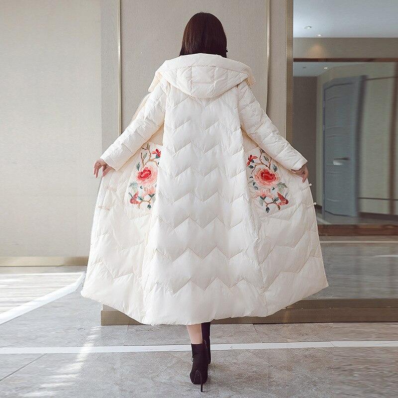 D'hiver Fleur Broderie Épaississent De Dames Duvet Tops rhodo Manteau Femmes Chaud Vêtements 2018 Vestes Parka Mode Canard Nouvelle Long Noir blanc wYrFw