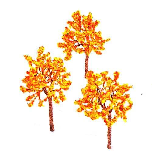 TFBC Model Tree Train Orange Flowers Set Scenery Landscape OO HO - 10PCS