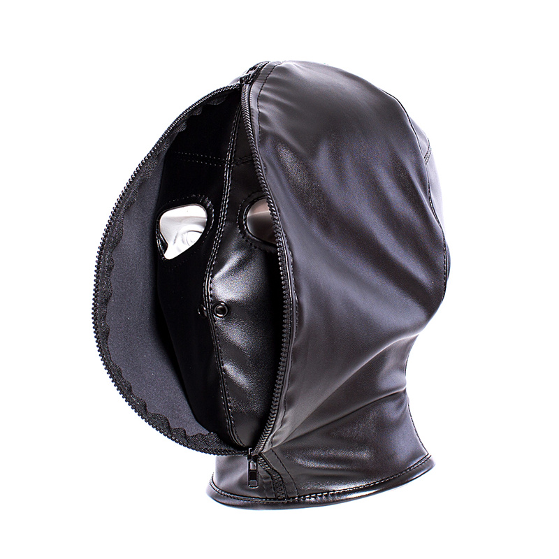 New Arrive Double Layer BDSM Bondage Hood Mask Zipper Closed Erotic Toys , Blackout Mask Blindfold,Sex Toys For Adult Games