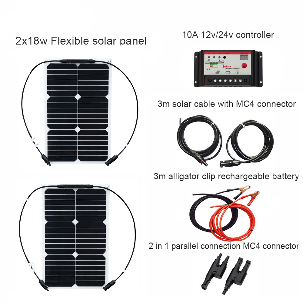 XINPUGUANG 12V 2PCS 18W DIY RV Boat Kits Solar System flexible solar panel 1x 10A solar controller 1 set 3M MC4 cable 1 set clip far infrared multifunctional heating massage mattress neck waist full body vibration cushion massager electric massage cushions