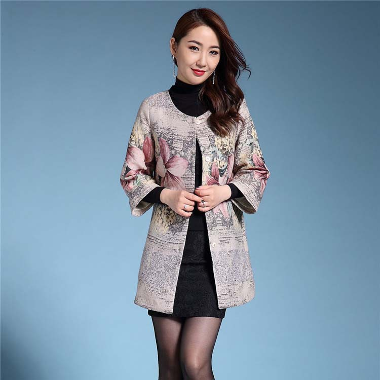 Plus size S-5XL 2017 Trench coat women o-Neck jacquard outerwear womens trenches mother cloth Flower coat trenches