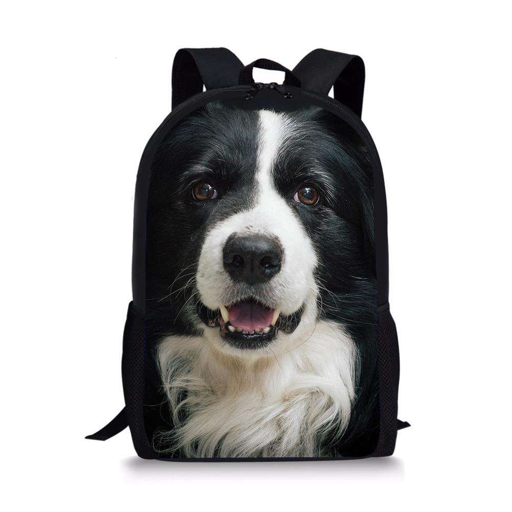 d6cbab1e42 Border Collie 3D Printing Kids School Backpack Girls Cute Animals Children  Book Bags Schoolbags Students Mochila Infantil Dogs