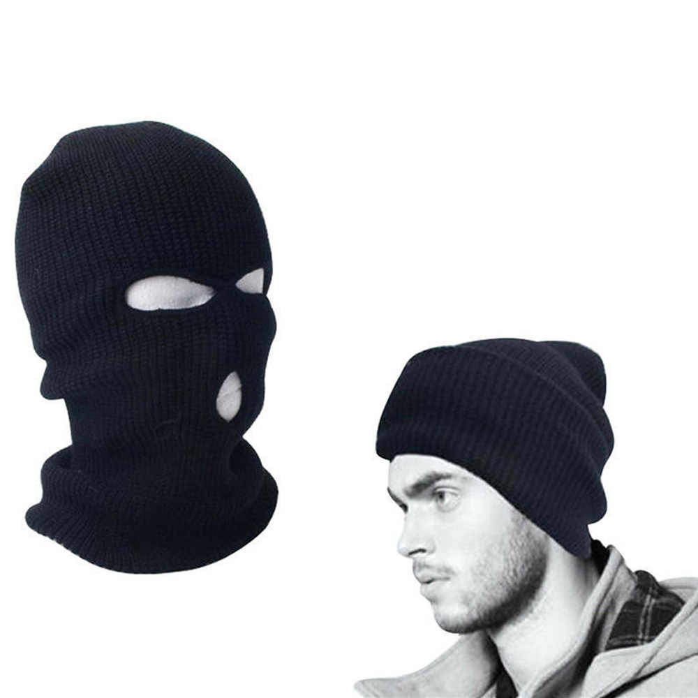 c469be0b1642b Men Women Full Face Ski Mask 3 Holes Beanie Cap Ski Hat Black Balaclava  Hood Warm