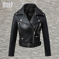 Black PU leather jackets and coats women motorcycle jacket veste en cuir femme cazadora cuero mujer blouson Free shipping LT453