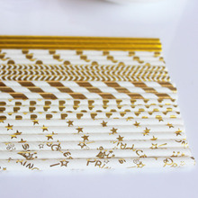 50pcs/lot Mixed Gold Foil Paper Stripe straws Kids Birthday Wedding Decorative Party Decoration Princcess Drinking Straws Xmas