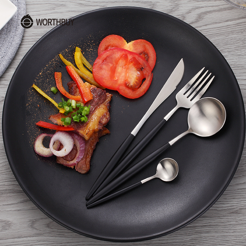 WORTHBUY Hot Sale 4 Pcs/Set Rose Gold Dinnerware Set 304 Stainless Steel Western Cutlery Set Kitchen Food Tableware Dinner Set
