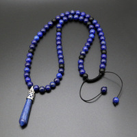 Natural Lapis Pendant Necklace DIY Hand knitted Bead Irregular Crystal Column Pendant Jewelry For Couple
