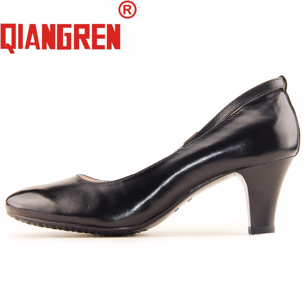 QIANGREN High-grade Factory-direct Womens High Heels Black Genuine Leather Dress Shoes Office Work Business Ladies Zapatos Mujer a low cost factory direct high grade high cycle life lithium polymer battery 801745